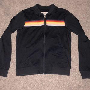 American Eagle Retro Navy Blue Zip-Up Track Jacket Rainbow Stripe Womens Size XS